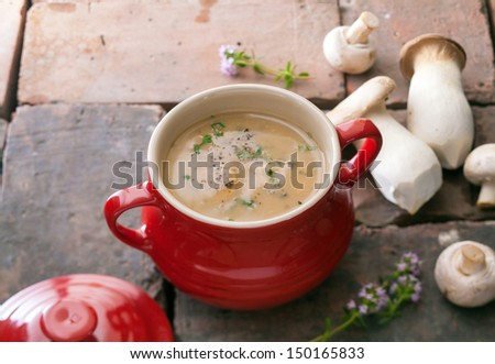 Red ceramic crock filled with gourmet creamy mushroom soup with fresh mushrooms and ingredients alongside - stock photo