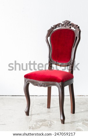 Red Chair Contemporary style in vintage room - stock photo