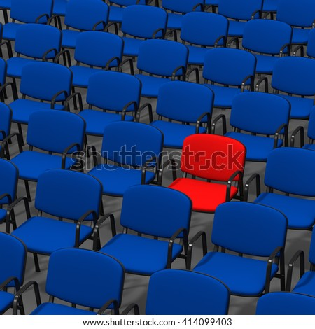 Red Chair Stand Out in a Crowd of Blue, 3D Illustration on White Background - stock photo