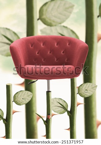 Red Chair with rose stem and thorn. - stock photo