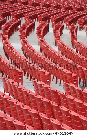 red chairs, outdoor image - stock photo