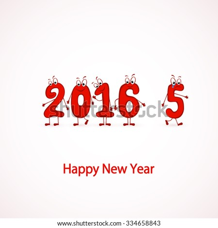 Red characters numbers, Happy New Year 2016, illustration. - stock photo