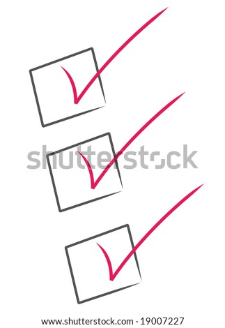 red check marks inside black boxes - check list - stock photo