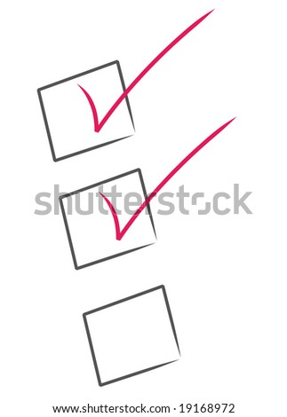 red check marks inside black boxes - check list partially complete - stock photo