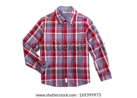 Red checkered boy shirt isolated on white - stock photo