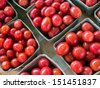 Red cheery tomatoes at local farm market. - stock photo
