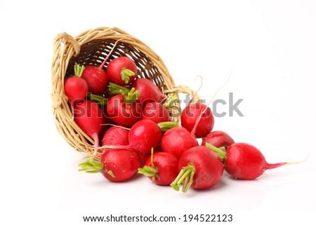 Red Cherry radish. Isolated over white background  - stock photo