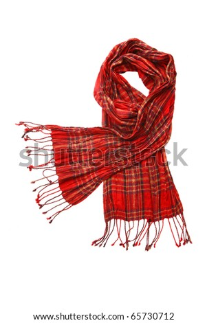 red cheskered scarf isolated on white - stock photo