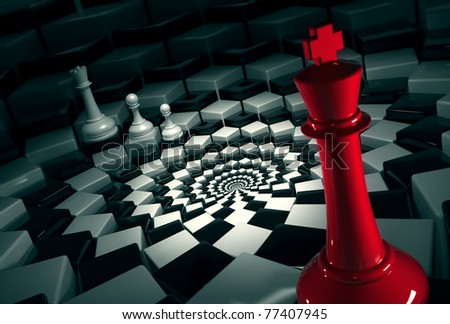 red chess king on round chessboard vs white figures - stock photo
