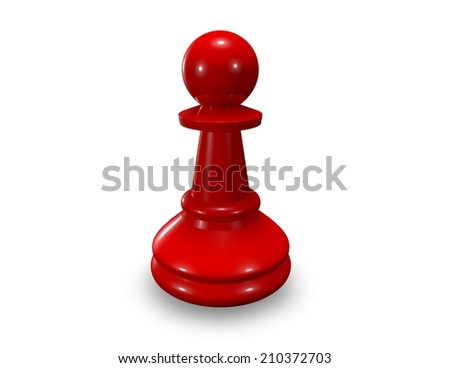 red chess pawn isolated on white - stock photo