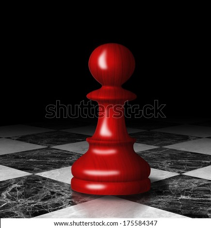 Red chess pawn on board. Digital graphic.  - stock photo