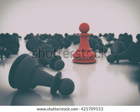 Red chess pawn standing. 3d render - stock photo