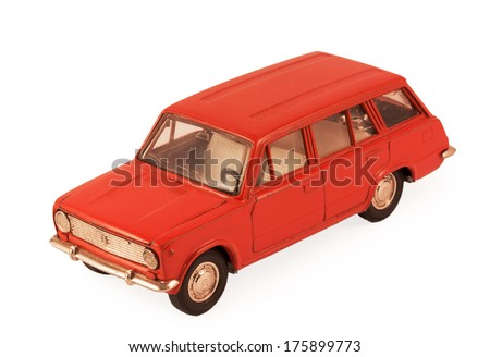 red children's toy car model isolated on white background - stock photo