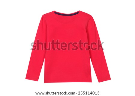 Red children T-shirt isolated on white - stock photo