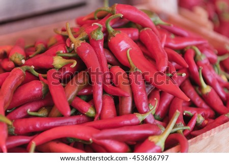 red chili or chilli cayenne pepper at market - stock photo