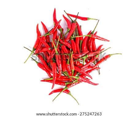 Red chili or chilli cayenne pepper isolated on white background - Top view. - stock photo