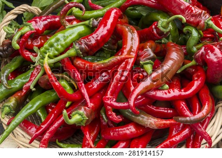 Red chili pepper European style of mild spiced chili pepper   - stock photo