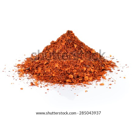 Red Chili Pepper powder isolated on white background - stock photo