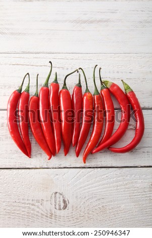 red chilli arranged in a line - stock photo