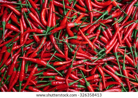 Red Chillies Background,Selective focus                                - stock photo