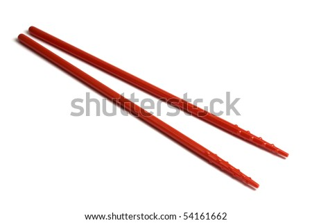 Red chopsticks isolated on white background - stock photo