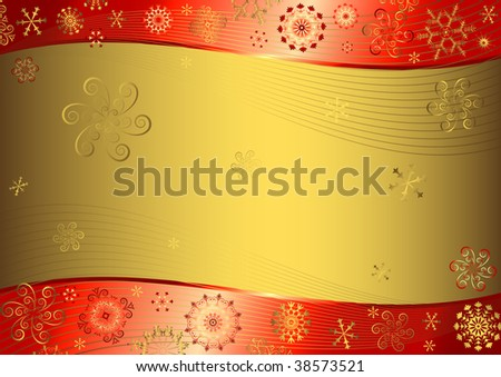 Red christmas background with golden snowflakes - stock photo