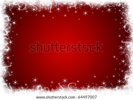 Red Christmas background with white stars and sparkles - stock photo