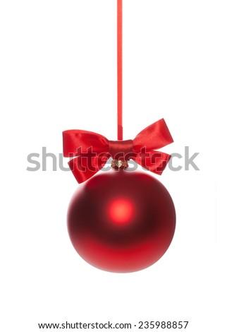 Red Christmas ball, bauble on Christmas tree - stock photo