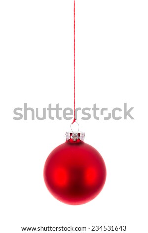Red Christmas ball hanging at a red rope over white - stock photo