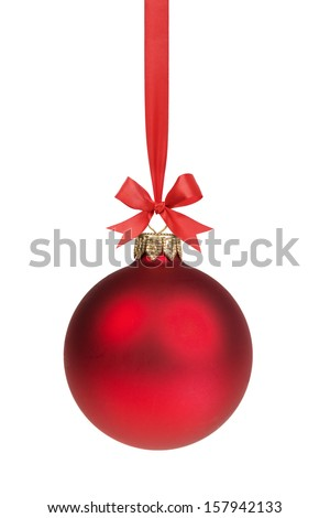 red christmas ball hanging on ribbon with bow, isolated on white - stock photo