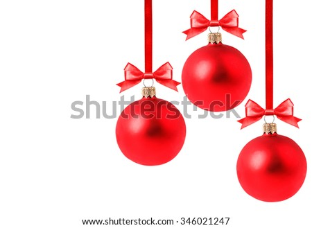 red Christmas ball Isolated on white background Clipping Path - stock photo