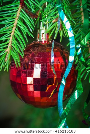 Red Christmas ball on fir branches. - stock photo