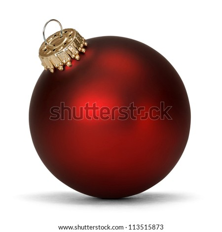 red christmas ball over white background - stock photo
