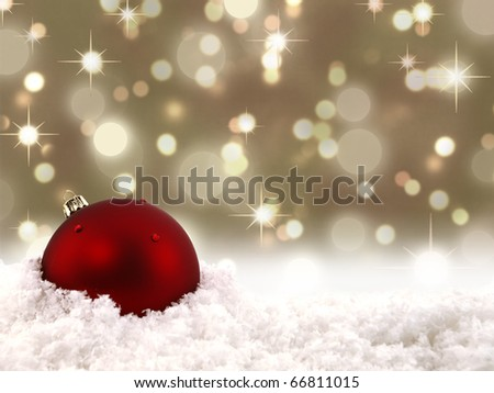 Red Christmas ball with a lights background - stock photo