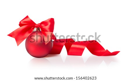 Red Christmas ball with bow - stock photo