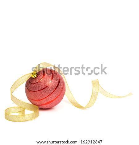 Red christmas ball with gold ribbon on white  - stock photo