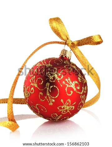 red christmas ball with golden ribbon on white background - stock photo