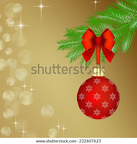 Red Christmas ball with red bow hanging on fir tree branch. - stock photo