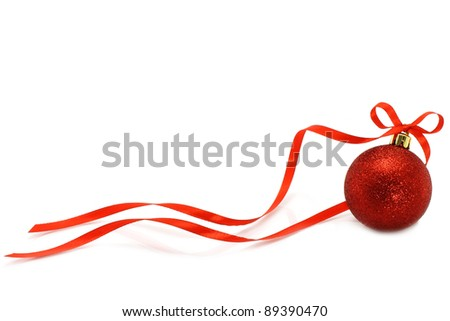 Red Christmas ball with ribbon on white background - stock photo