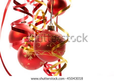Red Christmas balls - stock photo