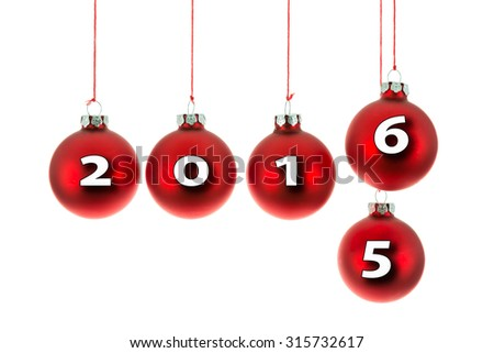 Red Christmas balls hanging at a rope with text 2015 replaced by 2016 - stock photo