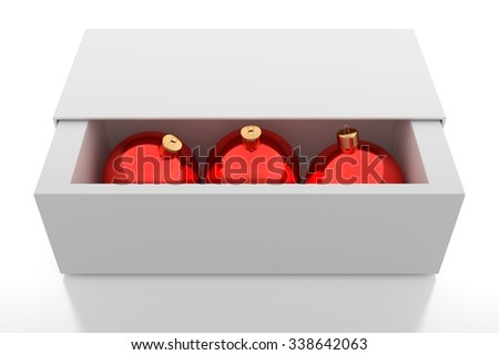 Red Christmas balls in the white box - stock photo