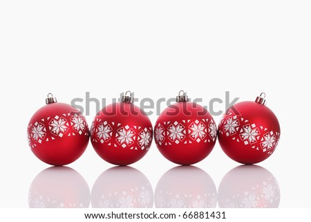 Red christmas balls isolated on white background - stock photo