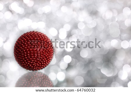 Red Christmas balls on blurred background - stock photo