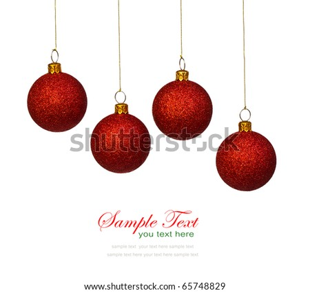 Red christmas balls on white background with copy space. - stock photo