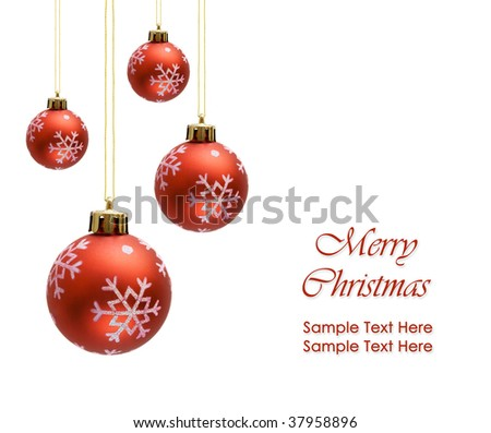 Red christmas balls over white background - stock photo
