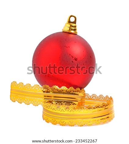 Red christmas  bauble with a yellow ribbon isolated on white - stock photo