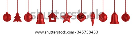 Red christmas baubles decorations isolated over white 3d rendering - stock photo