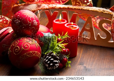red christmas decoration  - stock photo