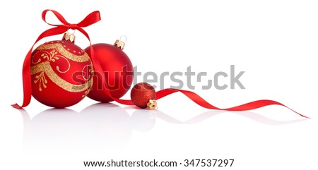 Red christmas decoration baubles with ribbon bow isolated on white background - stock photo